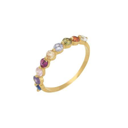 anillo de colores de oro