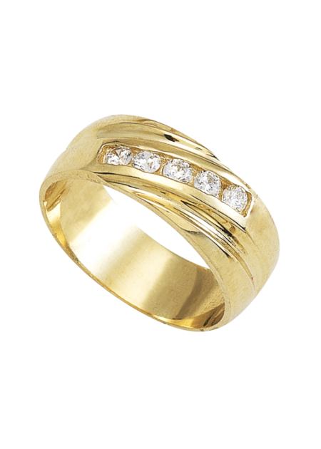 anillo de boda con 5 piedras