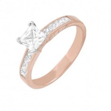 anillos de compromiso de oro cuadrado