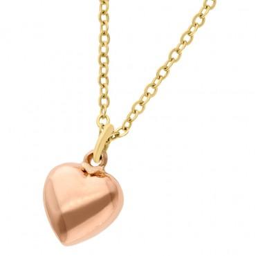 dije corazón rosa con cadena